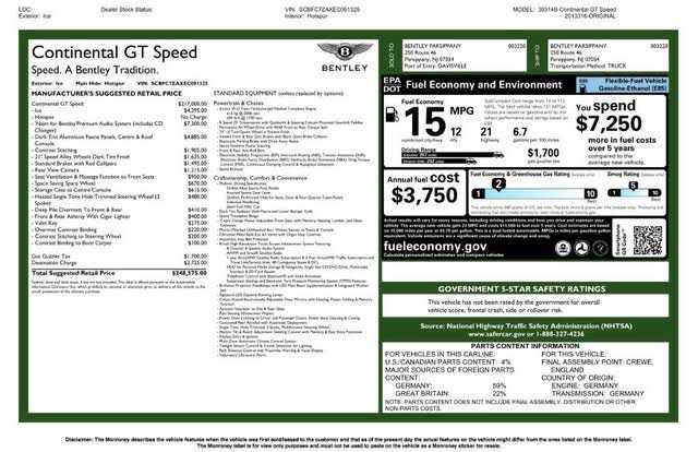 Bentley Continental 2014 $129999.00 incacar.com