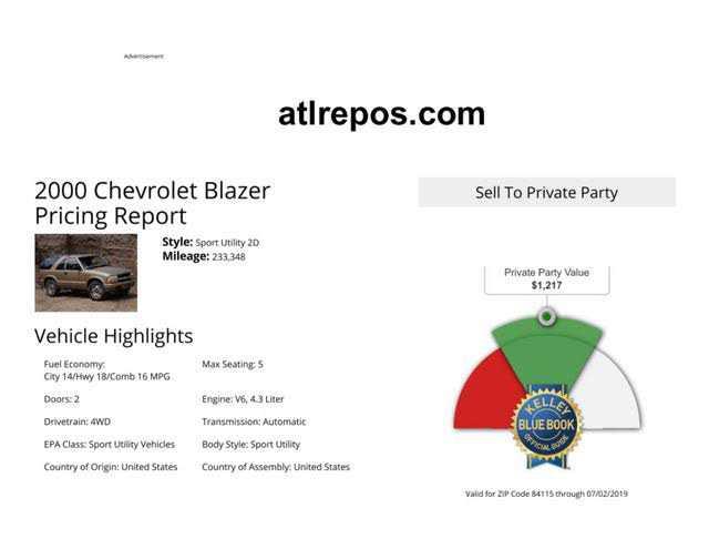 Chevrolet Blazer 2000 $900.00 incacar.com