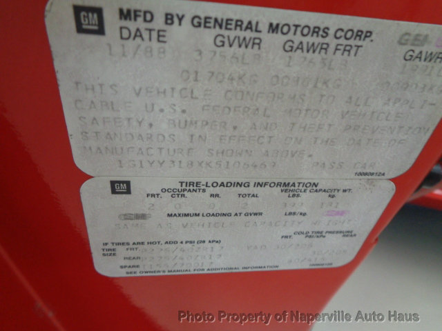 used Chevrolet Corvette 1989 vin: 1G1YY318XK5106469
