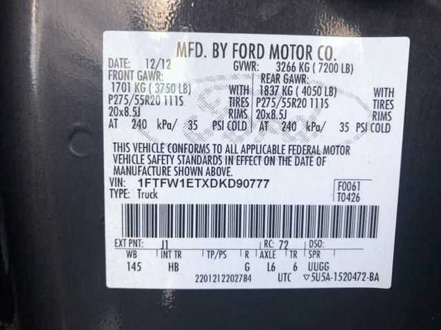 used Ford F-150 2013 vin: 1FTFW1ETXDKD90777