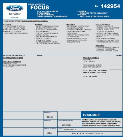 Ford Focus 2014 $9991.00 incacar.com