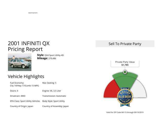used Infiniti QX4 2001 vin: JNRDR07YX1W104383
