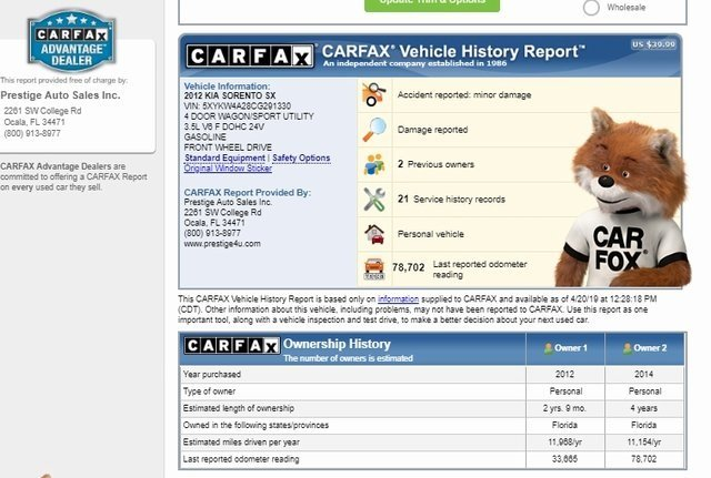 Kia Sorento 2012 $12600.00 incacar.com
