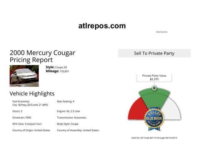Mercury Cougar 2000 $850.00 incacar.com