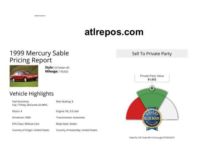 used Mercury Sable 1999 vin: 1MEFM50U6XG645346