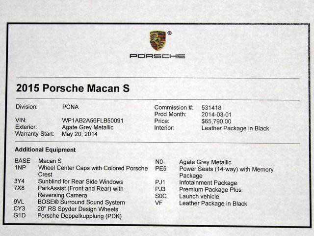 Porsche Macan 2015 $37944.00 incacar.com
