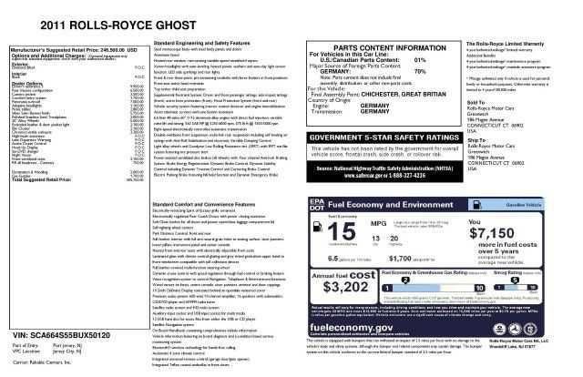 Rolls-Royce Ghost 2011 $121900.00 incacar.com