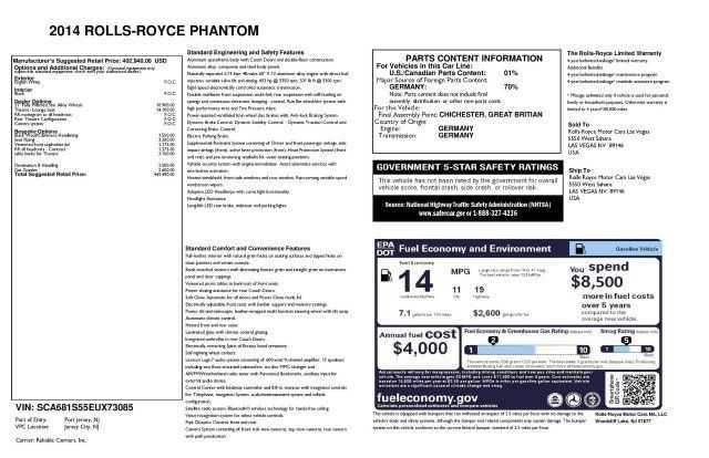 Rolls-Royce Phantom 2014 $245900.00 incacar.com